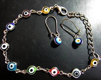 Lucky Eye Jewelry Set Bracelet and Dangle Earrings