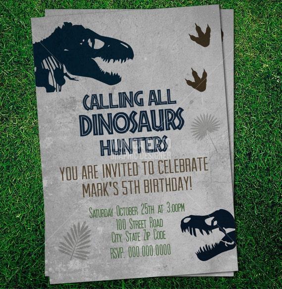 Custom Printable Jurassic Dinosaur Party Birthday Invitation