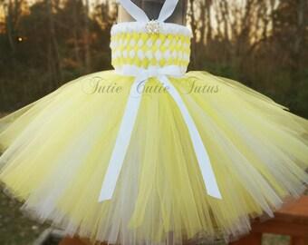 Demoiselle tissé robe Tutu en jaune et blanc