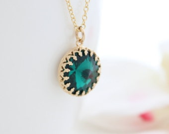 Emerald necklace - Gold necklace with an emerald Swarovski pendant