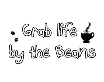 VWAQ Grab Life By the Beans Vinyl Wall Art Decals Coffee Quotes Sayings Wall Stickers Murals