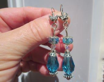Blue aqua/Ocean Swarovski crystal tear drop silver t. filigree capped earrings w. Butterfly hook