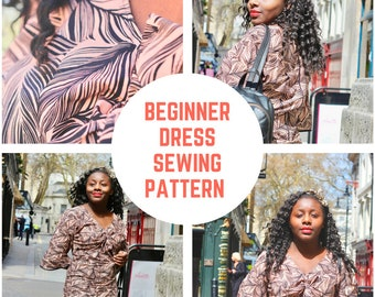Beginner Dress Sewing pattern with bow tie front PDF Sewing Pattern
