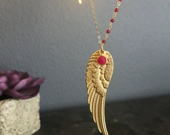 Gold feather necklace, Wing necklace, Angel Wing Necklace, Bohemian necklace, birth stone necklace, gemstone necklace, birthday gift