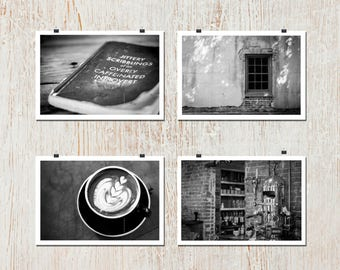 Set of 4: 8x10 - Cafe, Steampunk, Coffee Art, Brick, Rustic, Wall Art, Home Decor, Fine Art, Espresso