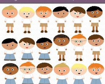 Little Boys Digital Art Set Clipart Commercial Use Clip Art INSTANT Download