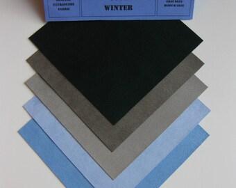 Ultrasuede Wildly Cool Winter 5x5 Squares, Dark Green, Sky Blue, Gray Blue, Medium Gray, Dark Gray