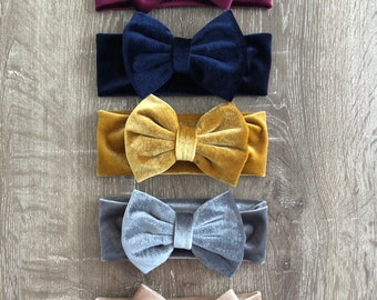 Baby/ Toddler Velvet Bow Headband (choose colour)