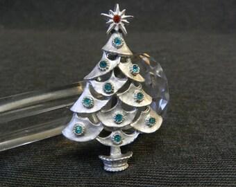 Vintage Silver Tone Christmas Tree Pin/ Brooch w/ Aqua Blue & Red Rhinestones - Xmas, Silvertone
