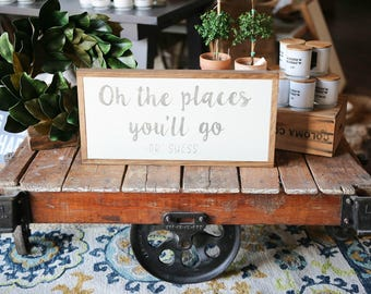 1'X2' Oh The Places You'll Go Dr. Seuss Framed Wood Sign Nursery Decor
