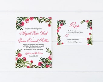 "Beach Wedding Invitation Card - Watercolor Wedding Invitation RSVP Card ""Tropical Garden"" Destination Wedding Invitation Palm Leaves Wedding"