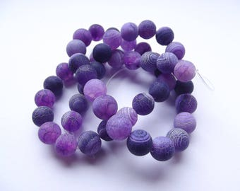 46 smooth Crackle REIA 424 8 mm frosted agate round beads