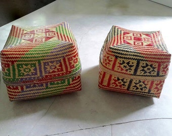 2x Hand Woven Baskets Bamboo, Balinese Offerings, Storage