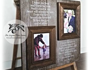 I Loved Her First, Father of the Bride Gift, Gift from Daughter, Personalized Picture Frame, Wedding Parents Thank You Gift, Dad Gift 16x16