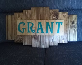 Personalized unique wood sign. Choose your name and color. Great gift idea!  can be used outdoors or indoors.