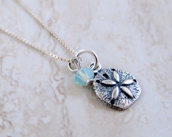 Sterling Silver Sand Dollar Pendant with Turquoise Swarovski Crystal on Sterling Silver Chain Necklace