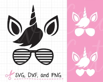 Unicorn Face SVG DXF Unicorn Wearing Sunglasses Silhouette SVG Cute Summer Unicorn Silhouette svg dxf Cut File for Cricut or Silhouette