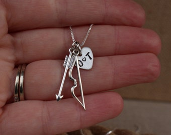 Bow and arrow necklace, Cupid necklace, Archery jewelry