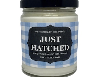 Clean Sheets Candle - Just Hatched - 8 oz Soy Candle - The Cheeky Nose - Fresh Candle - Baby Shower Gift - Scented Candle - Laundry Candle