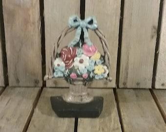 Vintage Doorstop, Flower Basket Door stop, Vintage Doorstopper