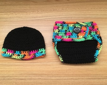 Crochet 80's Style Hat and Diaper Cover