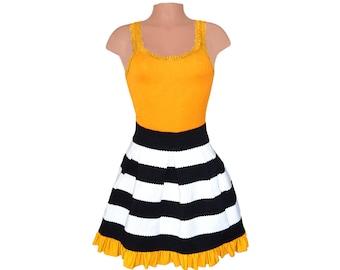 Black + Golden Yellow Stripe Scuba Skirt