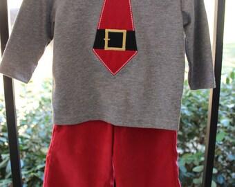 Appliqued Santa Tie and Pant Set