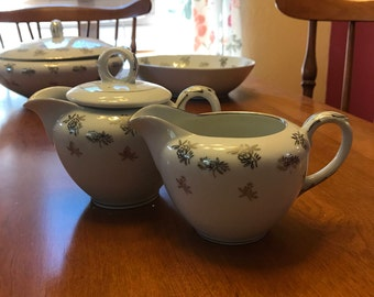 Fukagawa White Rose Creamer and Sugar Set