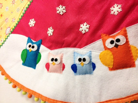 Tree Skirt, Christmas Tree Skirt, Sunny Snow, Rainbow Owls, Bright Festive, Birds, Gifts Under 75, Unique Gifts