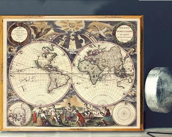Renaissance map art etsy quick view world map gumiabroncs Image collections