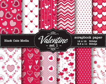 Digital hearts Paper pink, red, for greeting cards, invitations, party supplies scrapbooks 12 x 12 in AND 8.5x11 in - instant download