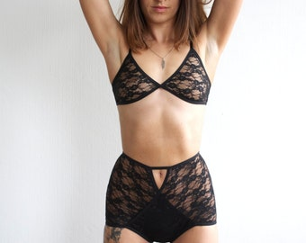 MILA Lace Bralette.  Black.  Handmade lingerie by Nahina