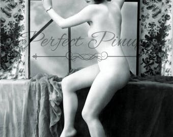 Stunning Antique French Nude - Nude Woman, Risque Postcard, Vintage Pin Up, Photograph, Wall Art, French Postcard, Photography, Paris - 1210