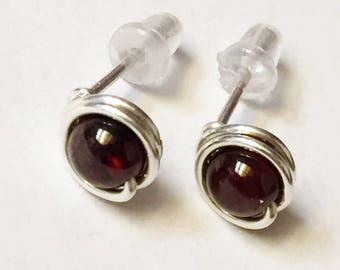 Garnet Earrings  Garnet Stud Earrings  January Birthstone Garnet Post Earrings  Garnet Sterling Silver Earrings
