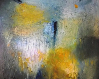 Abstract painting, free shipping, original art, golden yellow, amber, Prussian blue, gray, textural, square, 16 x 16 inches