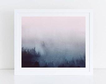 Horizontal Wall Art, Printable Abstract Art, Pink Blue Print, Horizontal Print, Large Art Print, Printable Wall Art, Abstract, Bedroom Print
