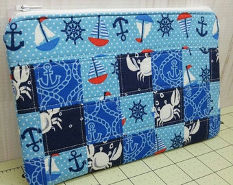 Nautical Zippered Patchwork Pouch