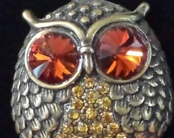 Antiqued Brass Owl statement necklace