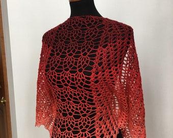 Lace Hand Crocheted Shawl Wrap Scarf, Lightweight Shawl, Summer Shawl, Crystal Berries Shawl / Scarf / Wrap