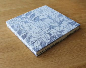 Small Square Floral Vintage Kimono Silk Hardcover Guest Book - Coptic Binding