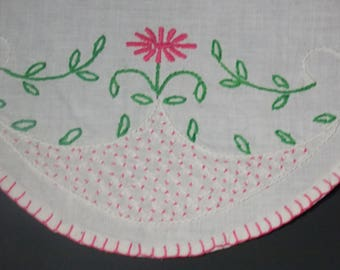 3 Linen doilies Pink flowers pink edging design floral embroidered doily 2 small one larger cottage accent  table accent