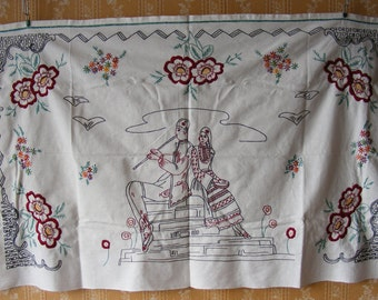 """Vintage 51.2"""" x 30.7"""" Cotton Hand Embroidered Panel Tapestry  / Wall Tapestry / Wall hanging / Art Deco /Retro"""