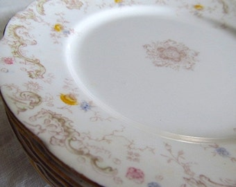 Antique, Victorian 1800's Set Of 6 Victorian Yellow Roses 8 Inch Dessert Or Luncheon Plates Transferware