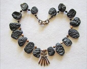 Unique and Exotic Tektite & Bronze Necklace with Pendant