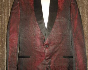 Mens Vintage 50s Lord West Size 42 Smoking Jacket Tuxedo Jacket SilkBlend   by JeansVintageCloset