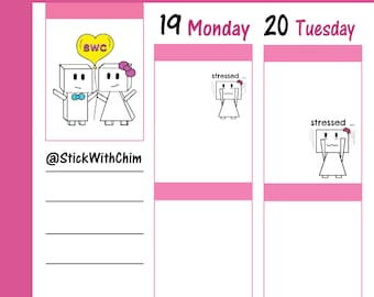 Bow Robot Girl Stressed   Cute Planner Stickers   Perfect for planners and calendars   R258