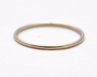 14K Palladium Wedding Ring: Simple Thin Bands