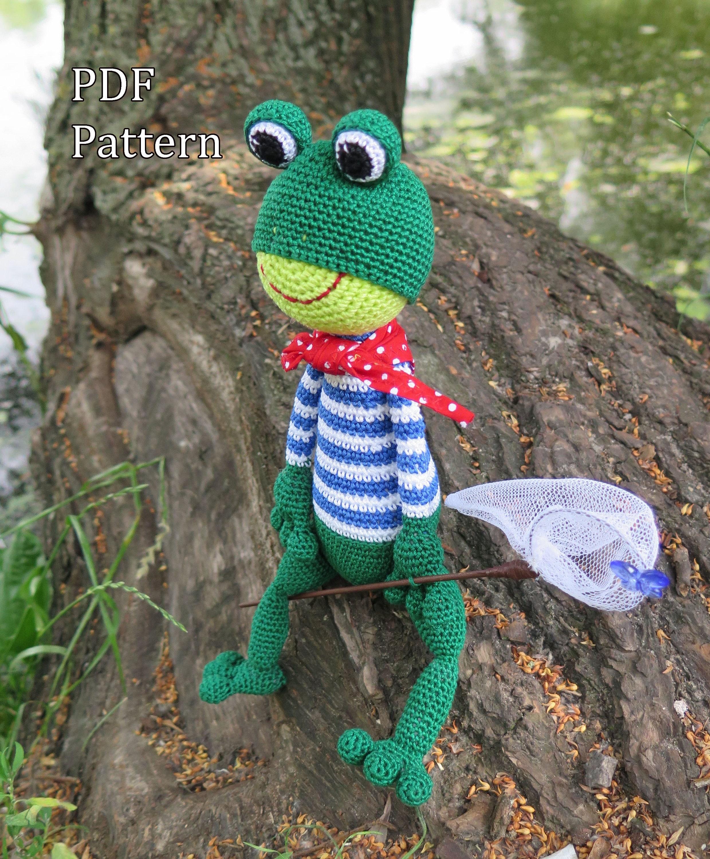Frog Pattern, Crochet frog, Knitting pattern, Frog crochet tutorial ...
