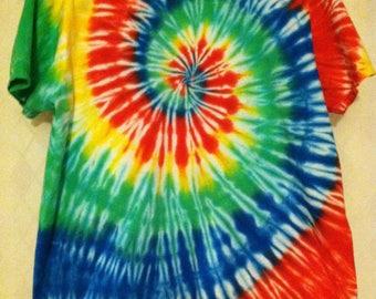 Tie Dye XL Round Neck Rainbow Swirl