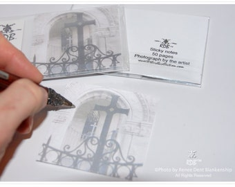 Cross Sticky Pad - Monastery Gate Sticky Note Pad - Religious Ironwork Adhesive Notepad - Southern Architecture - theRDBcollection